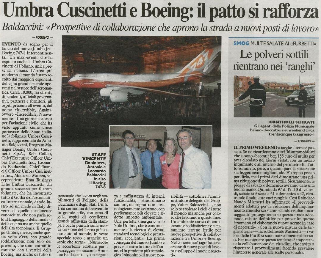 Umbra Cuscinetti unica azienda italiana al lancio del nuovo Jumbo Jet Boeing 747-81